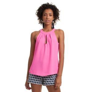 Trina Turk Temecula Flamingo Hot Pink Keyhole Top